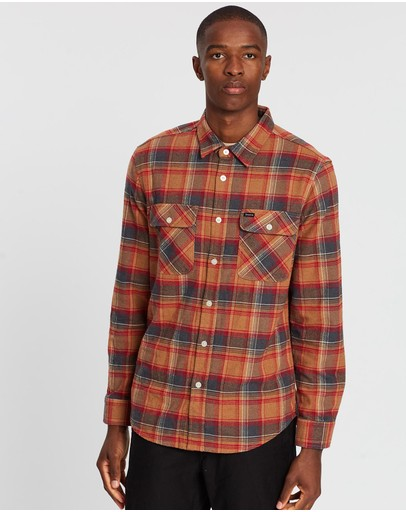 Brixton Bowery Ls Flannel Shirt Navy & Copper