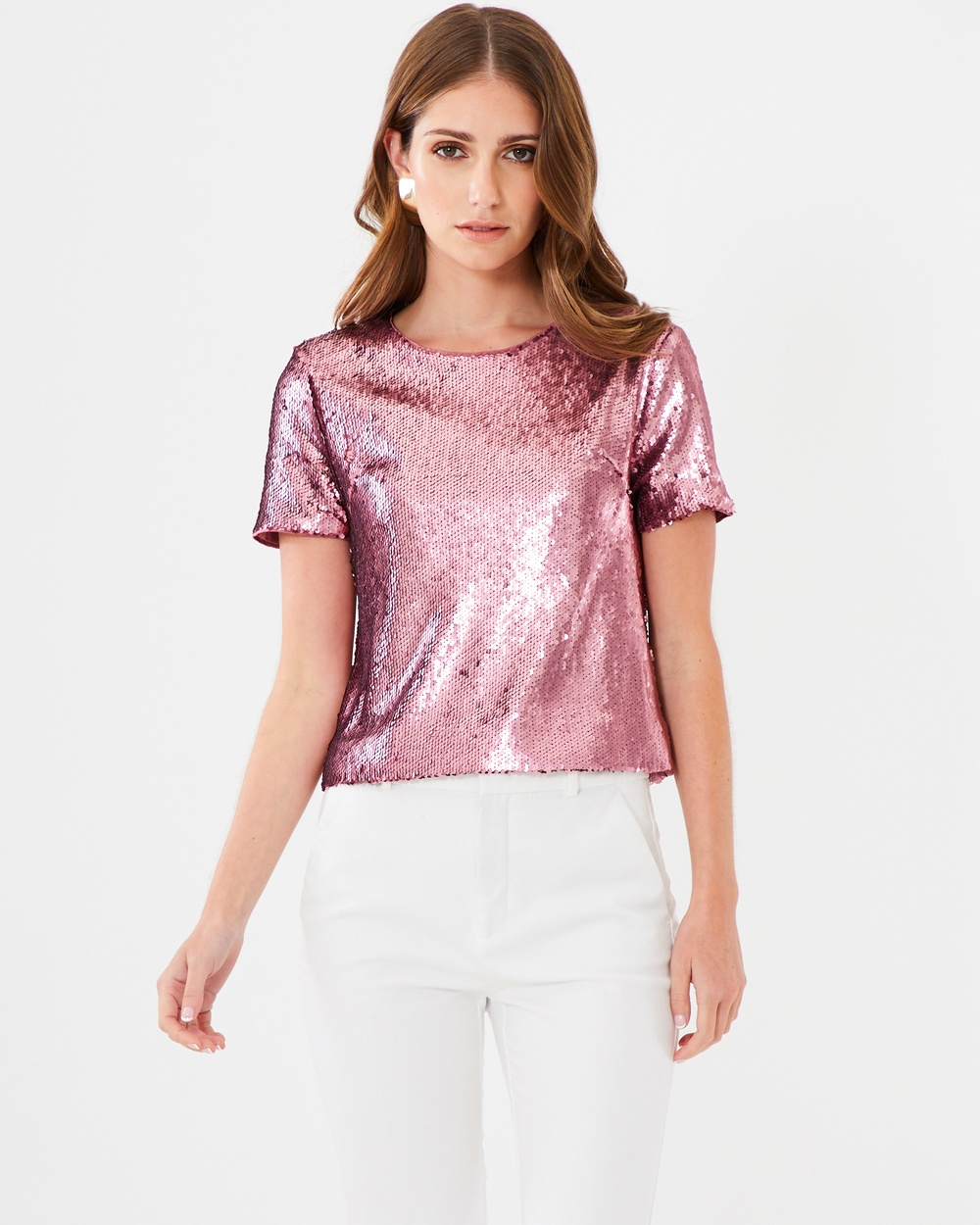 CHANCERY Lexi Sequin Top Cropped tops Pink Lexi Sequin Top