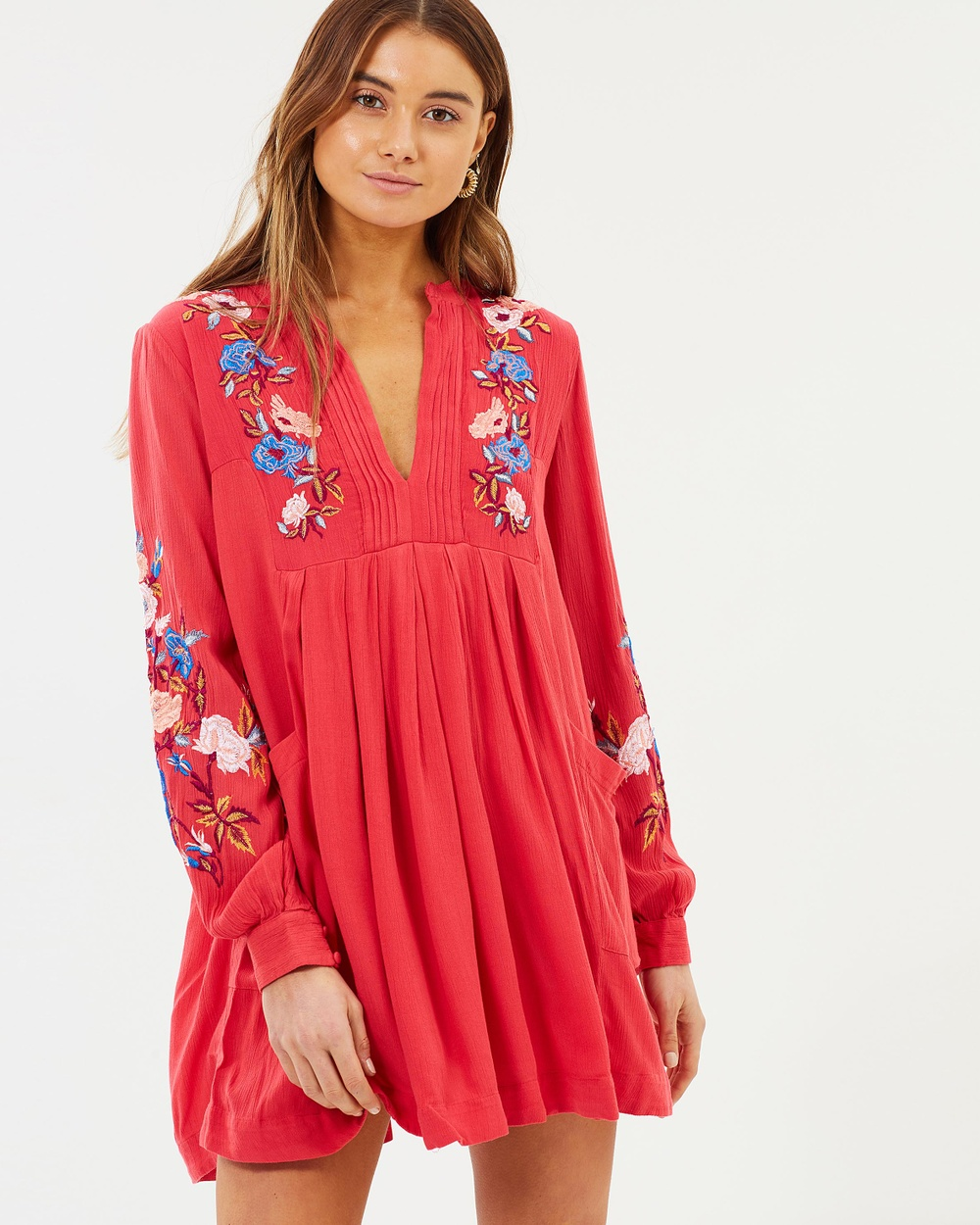 Free People Mia Gauze Embroidered Mini Dresses Red Mia Gauze Embroidered Mini