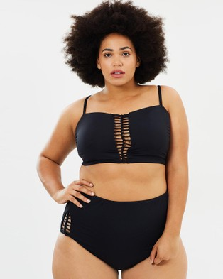 Becca Swim – Curvy No Strings Attached High Waist Bikini Bottoms Black