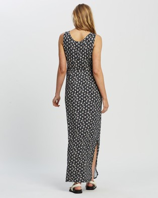 Angel Maternity Maternity and Nursing Button Up Front Maxi Dress - Printed Dresses (Navy)