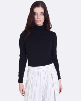 Forcast – Casey Turtle Neck Knitted Sweater – Tops (Black)