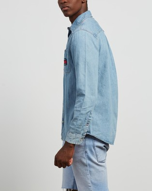 Tommy Jeans Denim Badge Shirt - Casual shirts (Mid Indigo & Multi)