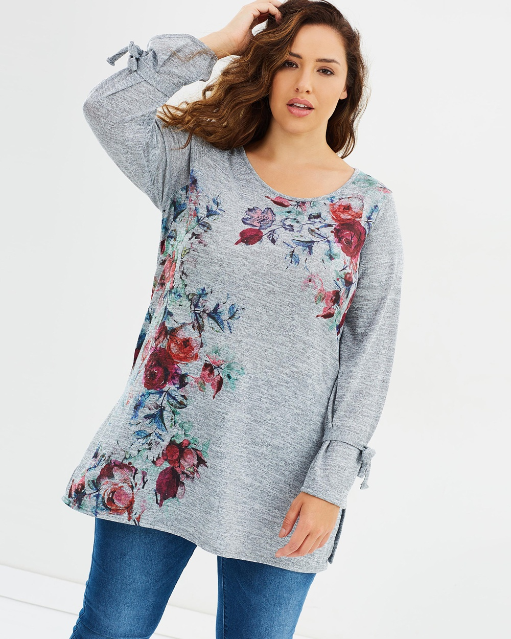 EVANS Rose Embroidered Tunic Tops Multi Rose Embroidered Tunic