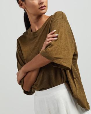 Andrea & Joen Martine Crop Tee - T-Shirts & Singlets (Olive)
