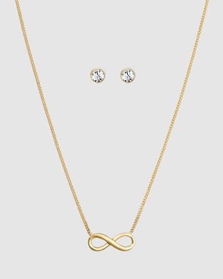 Elli Jewelry Jewelry Set Infinity Symbol with Swarovski® Crystals in 925 Sterling Silver Gold Plated - Jewellery (Gold)