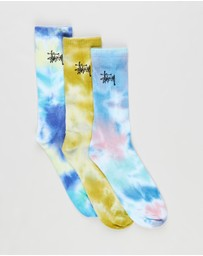 Stussy - 3-Pack Tie Dye Graffiti Socks - Men's