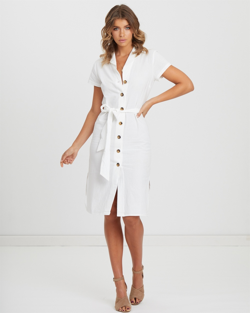Photo of Atmos & Here White Button Front Midi Dress - beautiful dress from Atmos & Here online