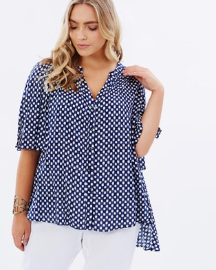 Advocado Plus – Aether Flutter Sleeve Shirt Blue Gingham