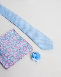 Geoffrey Beene - Textured & Ditsy Floral Tie, Pocket Square & Pin Set