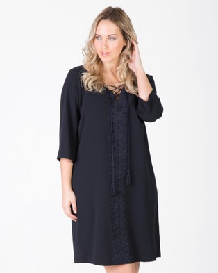 Love Your Wardrobe – Boho Embroidered Lace Up Dress – Dresses (Ink Navy)