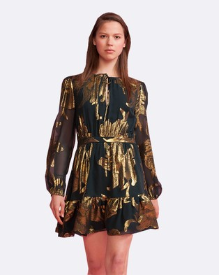 Cynthia Rowley – Metallic Bell Sleeve Dress – Dresses (Emerald)