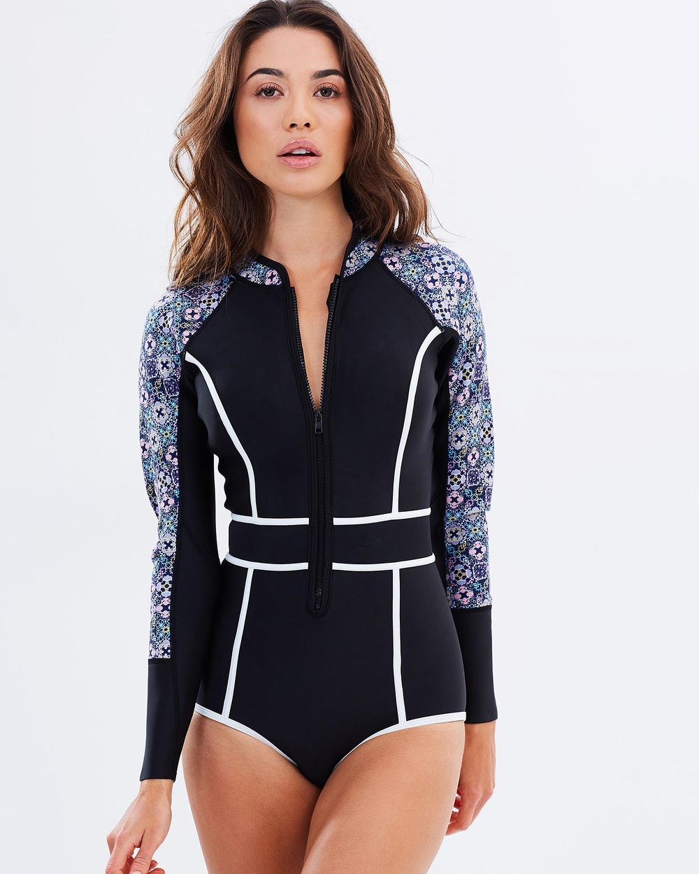 Duskii Waikiki Nights Long Sleeve Bikini Suit One-Piece / Swimsuit Tile Waikiki Nights Long Sleeve Bikini Suit