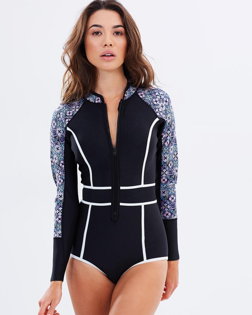 Duskii Waikiki Nights Long Sleeve Bikini Suit One-Piece / Swimsuit Tile Waikiki Nights Long Sleeve Bikini Suit