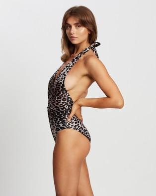 Duskii - Twist Halter One Piece One-Piece / Swimsuit (Leopard Print )