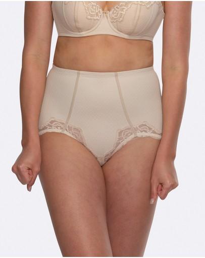 Hush Whisper Firm Control Lace Brief Nude