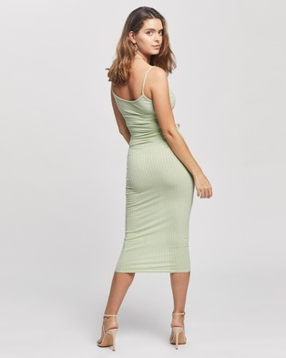 Missguided Petite Petite Tie Belt Cami Ribbed Midaxi Dress - Bodycon Dresses (Green)