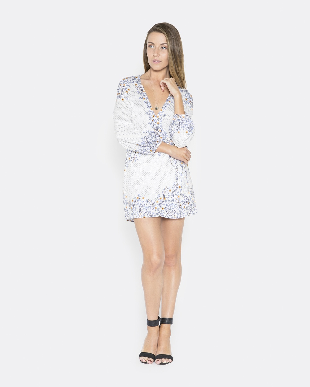 LALUNA White Wild Flower Mini Dress