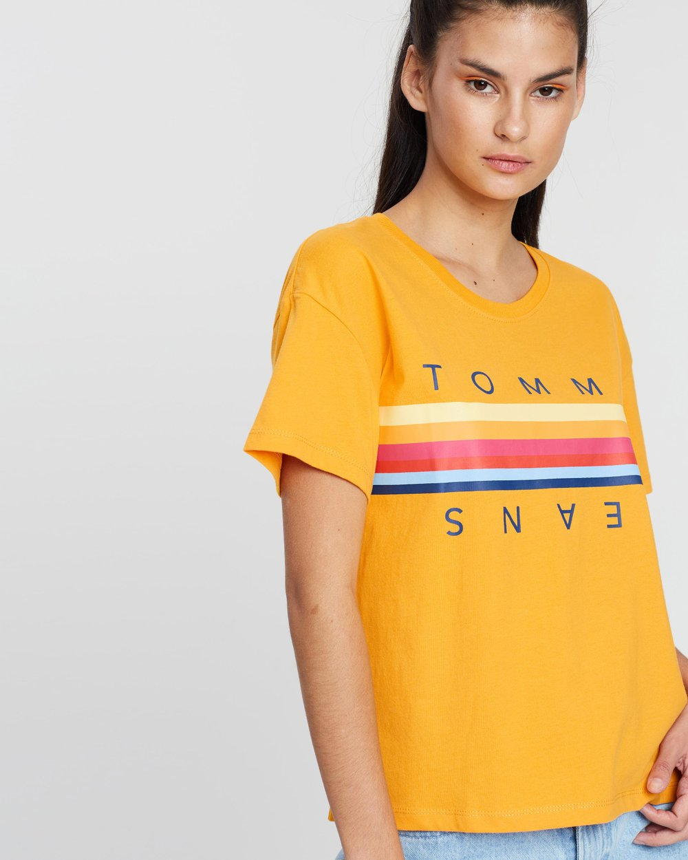 33806d09 Multi-Colour Line Logo Tee by Tommy Jeans Online | THE ICONIC | Australia