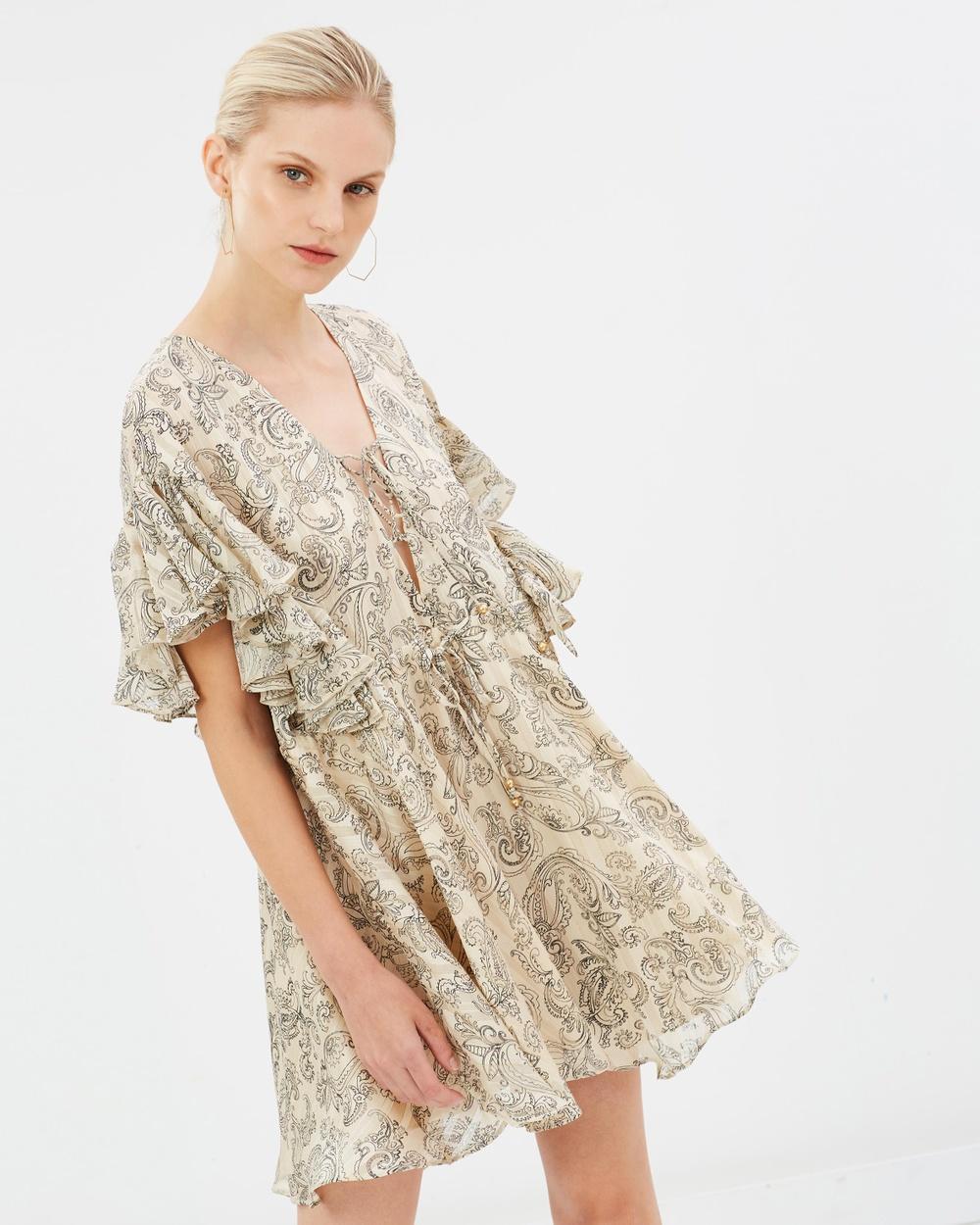 Shona Joy Marea Ruffle Mini Dress Printed Dresses Stone & Black Marea Ruffle Mini Dress
