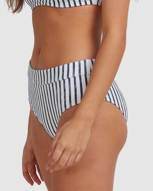 Roxy Womens Printed Beach Classics Full Bikini Pant - Bikini Bottoms (NAUTICALI STRIPES MO)