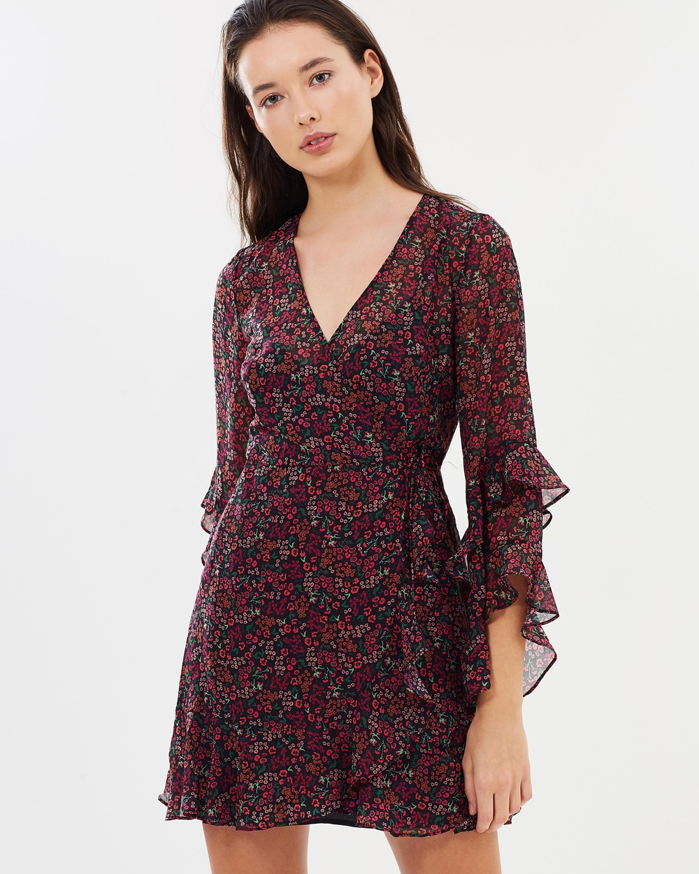 The Fifth Label Elective LS Wrap Dress Printed Dresses Fuchsia Floral Elective LS Wrap Dress