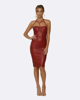 Honey Couture – Amina Burgundy Vegan Leather Bodycon Dress – Bodycon Dresses Burgundy