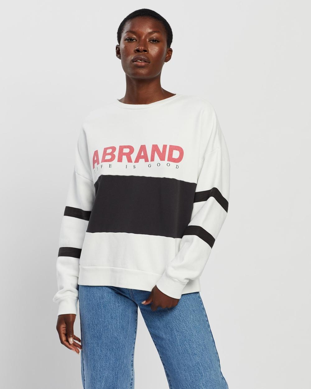 Abrand Oversized Panelled Sweater Sweats White & Black