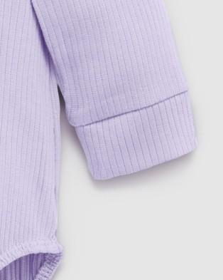 Purebaby Rib LS Henley Bodysuit   Babies - Bodysuits (Lilac)