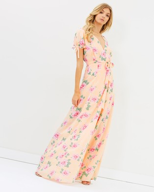 Atmos & Here – Alya Wrap Maxi Dress Light Peony Floral