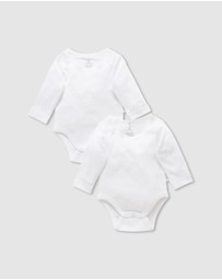 Purebaby - 2-Pack Easy Neck LS Bodysuit - Babies