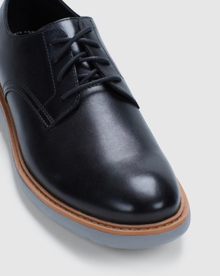 Clarks Draper Lace - Casual Shoes (Black Leather/Grey Sole)