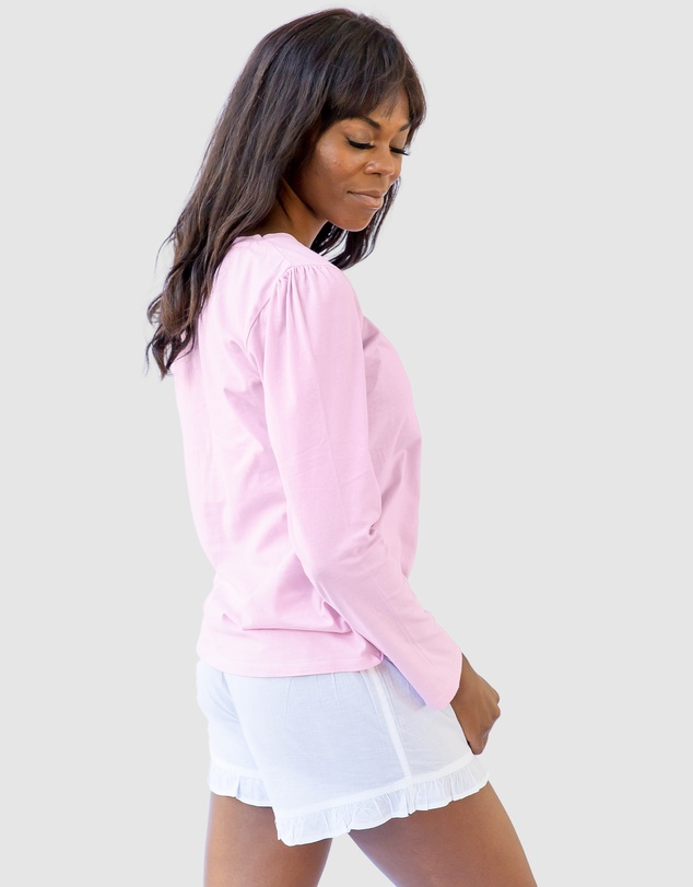 Women Women's Pink Jersey Long Sleeve Top