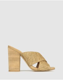 Betts - Monroe Raffia Block Heel Mules
