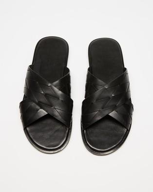 Double Oak Mills - Stairmand Leather Slides Flats (Black)