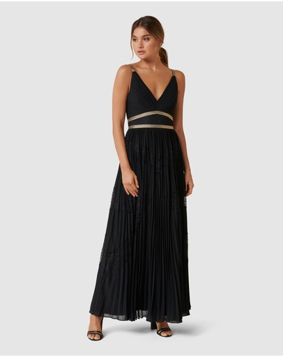 Forever New Kayla Spliced Pleated Maxi Dress Black