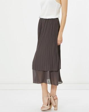 Privilege Midi Length Pleat Skirt - Pleated skirts (Steel)
