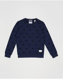 Scotch Shrunk - Crew Neck Sweat with All-Over Flock Print - Teens