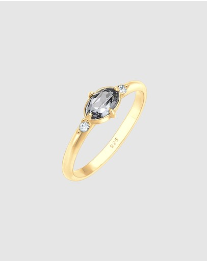 Elli Jewelry Ring Sparkling With Swarovski® Crystals In 925 Sterling Silver Gold Plated