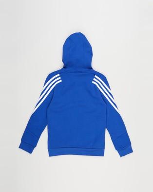 adidas Performance - Future Icons 3 Stripes Full Zip Hoodie   Kids Teens - Coats & Jackets (Bold Blue & White) Future Icons 3-Stripes Full-Zip Hoodie - Kids-Teens
