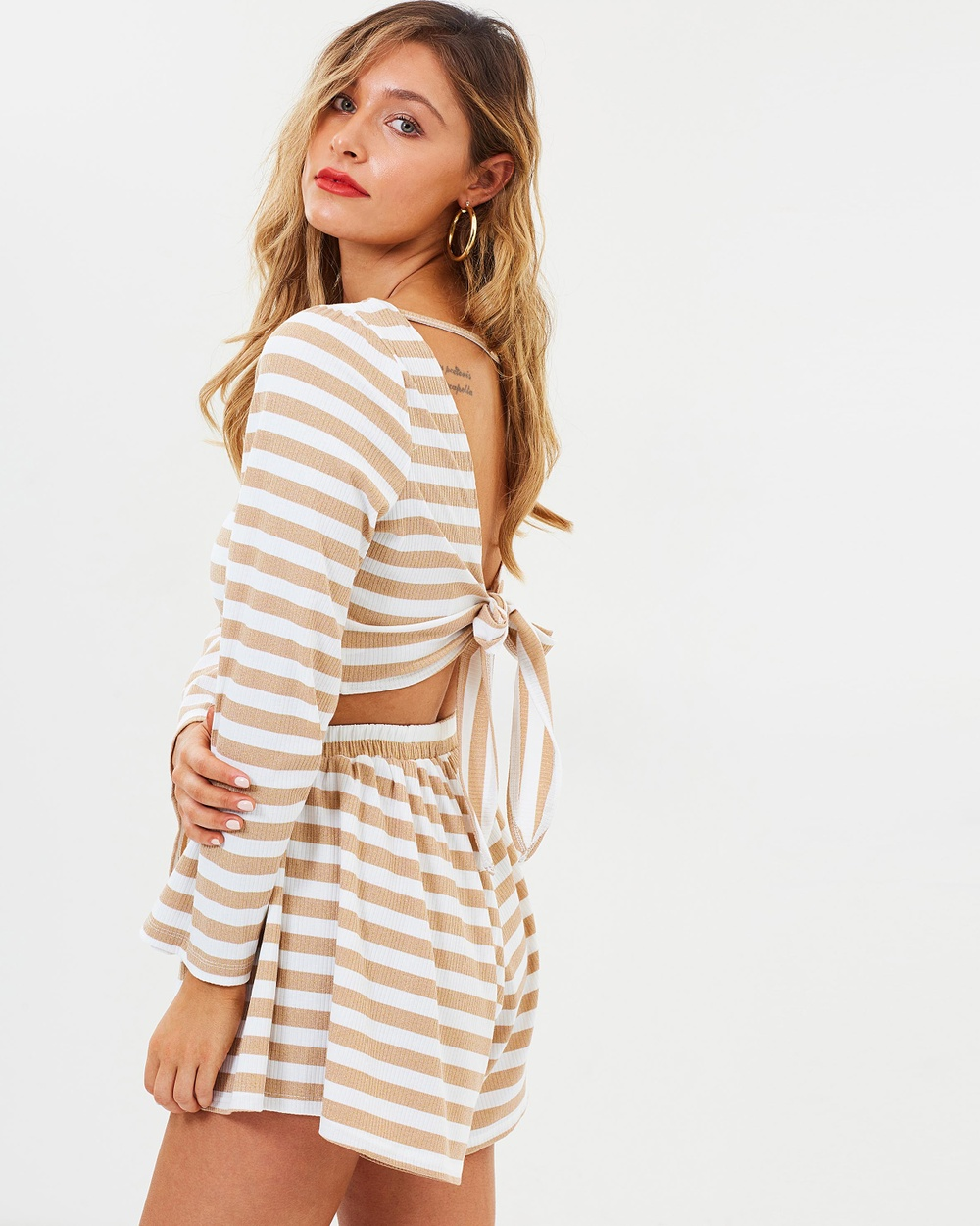 Toby Heart Ginger Like Heaven Tie Top Cropped tops Gold & White Like Heaven Tie Top