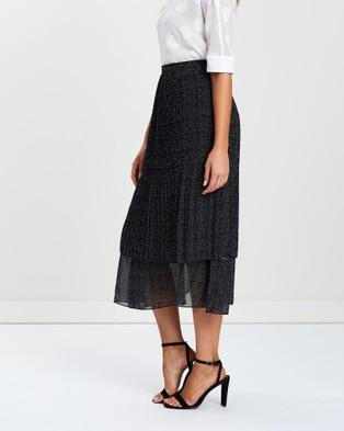 Privilege Cooper Pleated Skirt - Pleated skirts (Dots Print & Black)