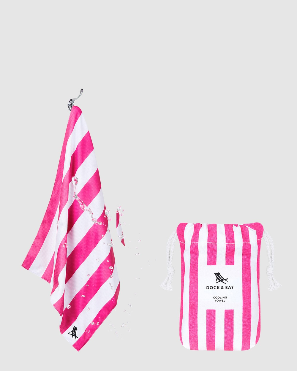Dock & Bay Cooling Towel 100% Recycled Cabana Collection Gym Yoga Pink