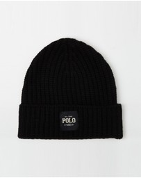 Polo Ralph Lauren - Chunky Cardigan Rib Cuff Hat with Label