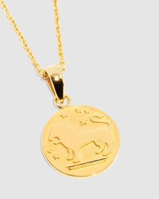 Molten Store The Gold Leo Zodiac Pendant Necklace - Jewellery (Gold)