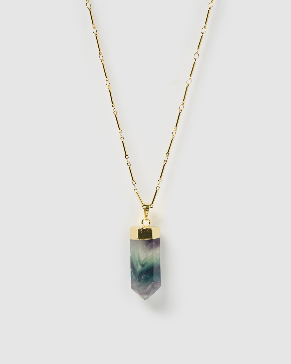 Miz Casa and Co Solitaire Pendant Necklace Jewellery Rainbow Fluorite Gold
