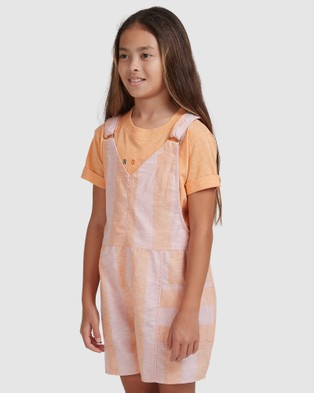 Roxy Girls 4 14 Two Days Dungaree Short - Jumpsuits & Playsuits (MELLOW ROSE SUMMER S)