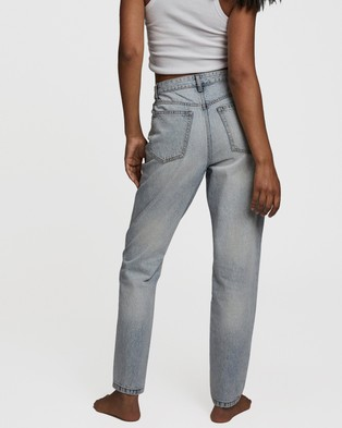 Cotton On Original Mom Jeans - High-Waisted (Cove Blue Rip)