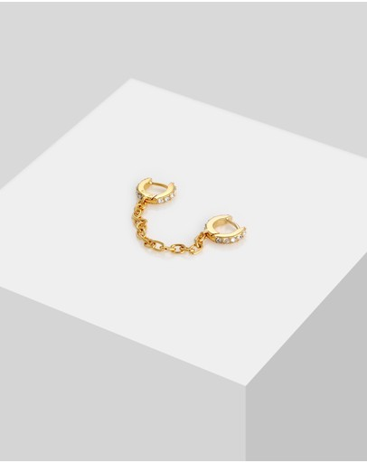 Elli Jewelry Earrings Creoles Trend With Swarovski® Crystals In 925 Sterling Silver Gold Plated White