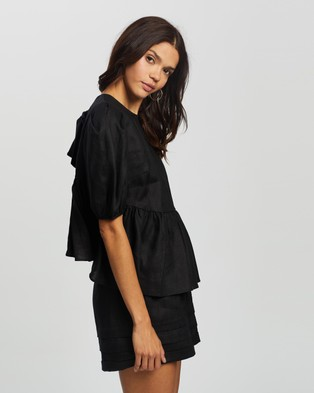 AERE - Tie Back Layered Top Tops (Black)